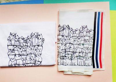 diseño textil gatos