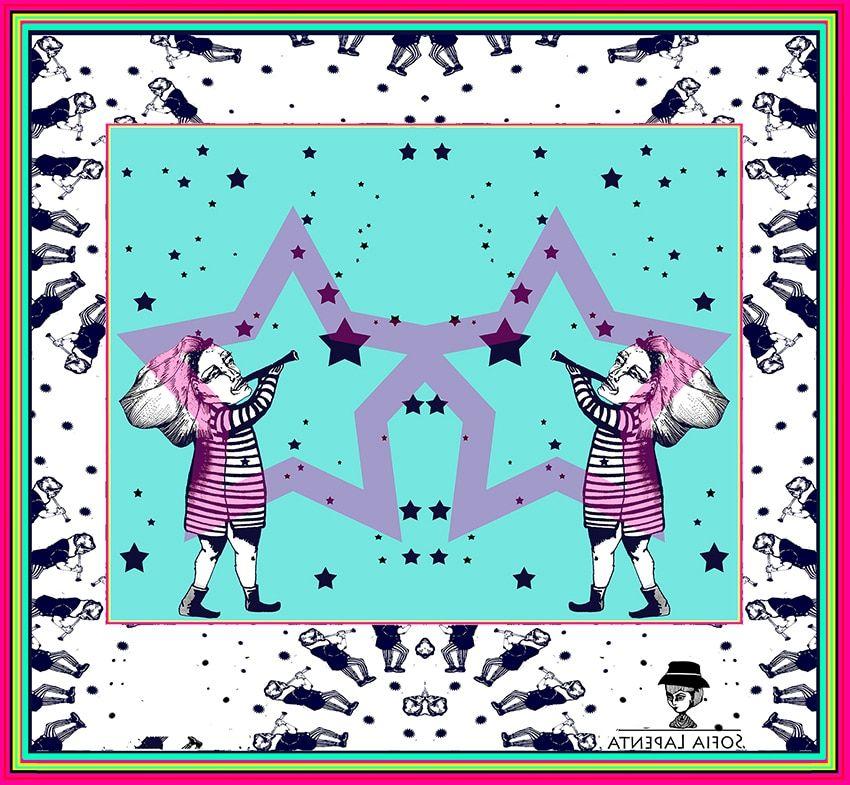 2 Pañuelos Chicos + Caja de Autor: Pañuelo Estrella Magenta + Estrellada Natural 3