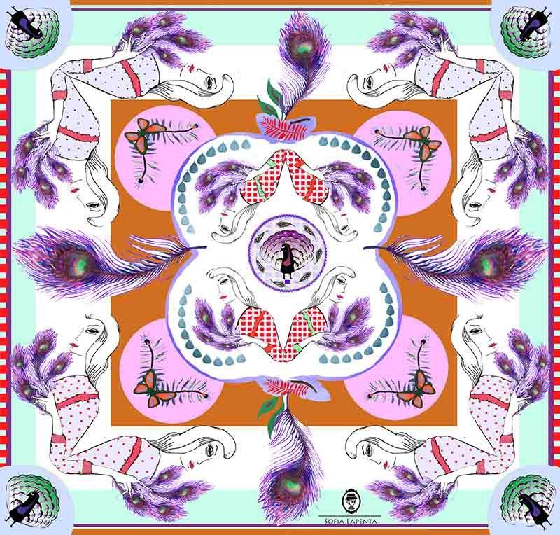 2 Pañuelos Chicos + Caja de Autor: Pañuelo Plumas Naranja + Pañuelo Fellini Celeste 3