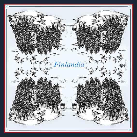 2 Pañuelos Chicos + Caja de Autor: Pañuelo Finlandia Azul + Barcos Rojo 2