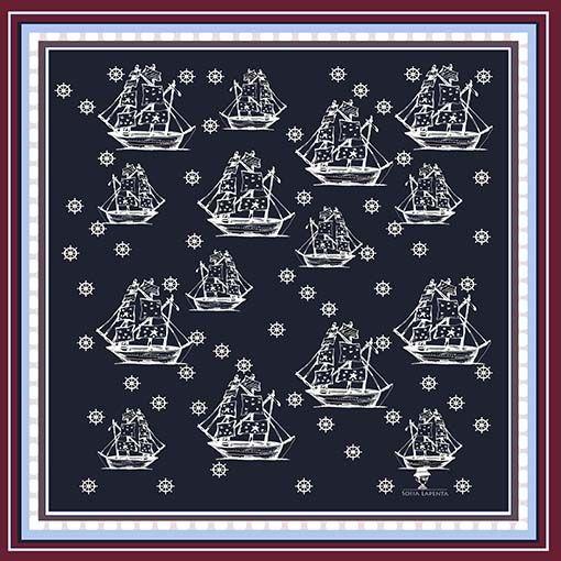 2 Pañuelos Chicos + Caja de Autor: Pañuelo Marina Crema + Barcos Azul 2