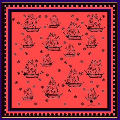 2 Pañuelos Chicos + Caja de Autor: Pañuelo Barcos Rojo + Barcos Classic 2