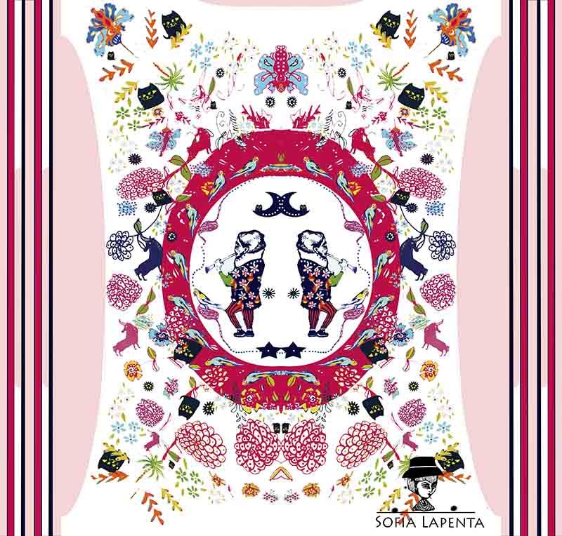 2 Pañuelos Chicos + Caja de Autor: Peonías Azul + Fellini Italia Rosado 2