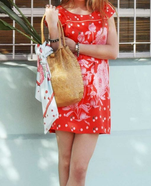 Vestido y Pañuelo Serie Peonias color Rojo