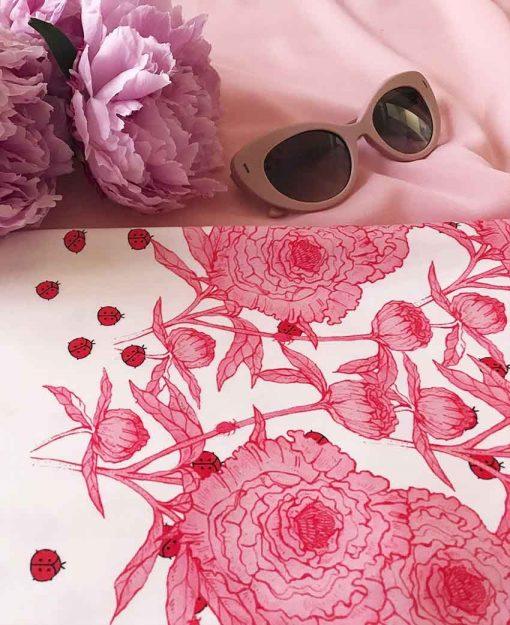 Estampado Serie Peonias color Rosa   Sofia Lapenta