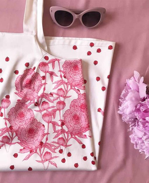 Estampado Serie Peonias color blanco flores Rosas   Sofia Lapenta