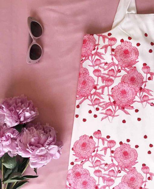 Estampado Peonias con Flores Rosas   Sofia Lapenta