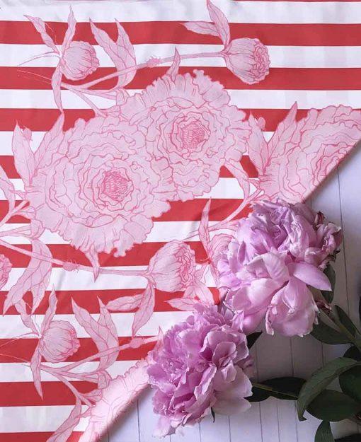Pañuelo Serie Peonías Rayada con Flores Rosas | Sofia Lapenta
