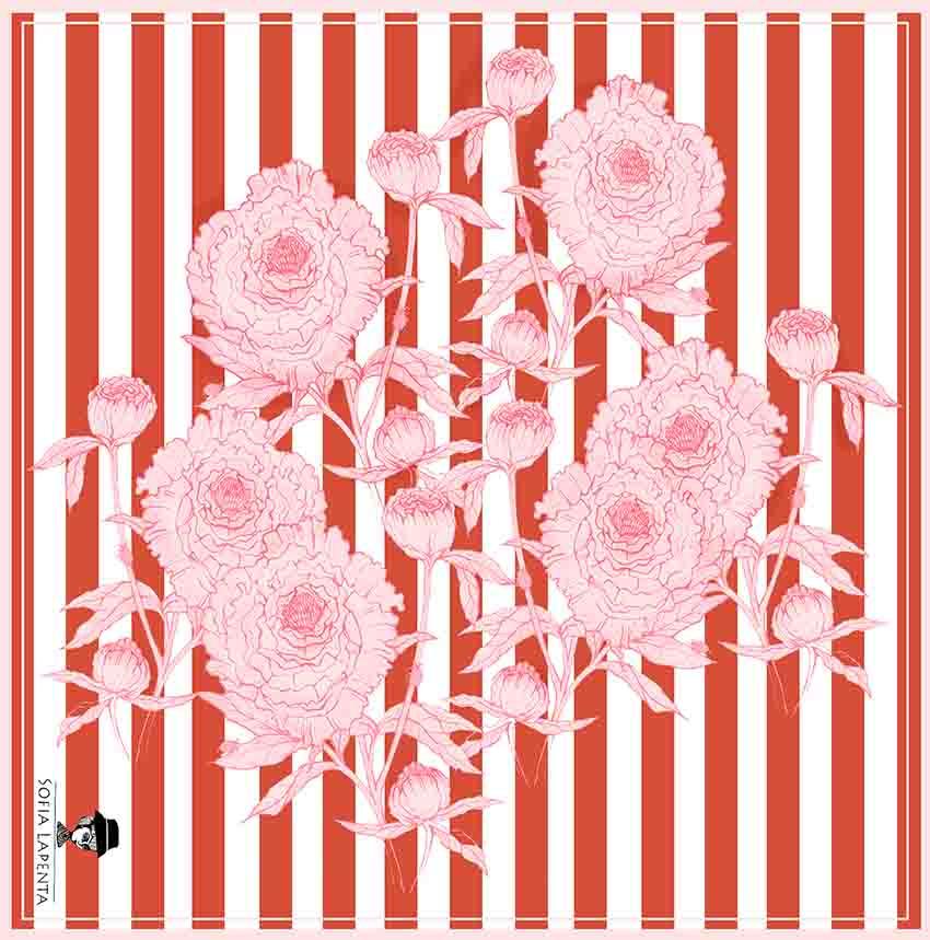 Pañuelo Serie Peonías Rayada con Flores Blancass | Sofia Lapenta