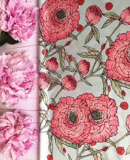 Pañuelo Serie Peonías color Blanco con Flores Rosas   Sofia Lapenta
