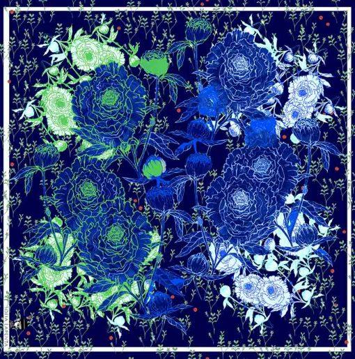 Pañuelo Serie Peonías color Azul con Flores Celestes | Sofia Lapenta