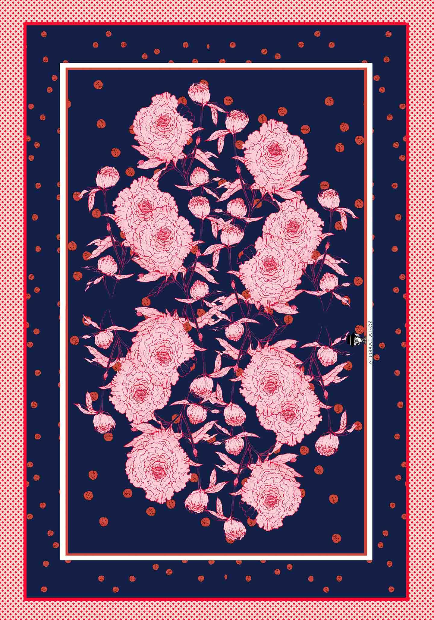 Pañuelo XXL Peonías Azul