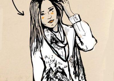 Ilustración Pañuelo Finlandia Blanco y Negro Sofia Lapenta