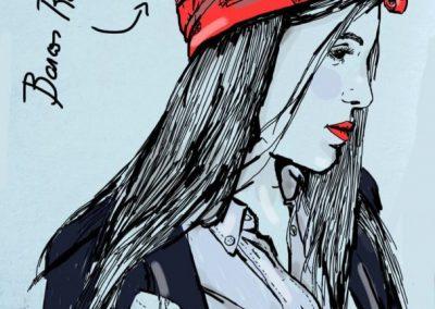 Ilustración Pañuelo Barcos color Rojo Sofia Lapenta