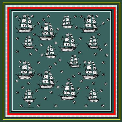 2 Pañuelos Chicos + Caja de Autor: Pañuelo Barcos verde + Pañuelo Barcos Clásico 3