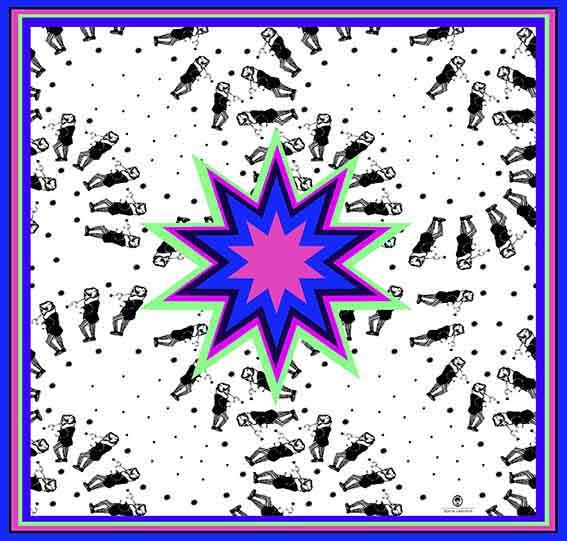 2 Pañuelos Chicos + Caja de Autor: Pañuelo Estrella cyan + Estrella Mix Azul 3
